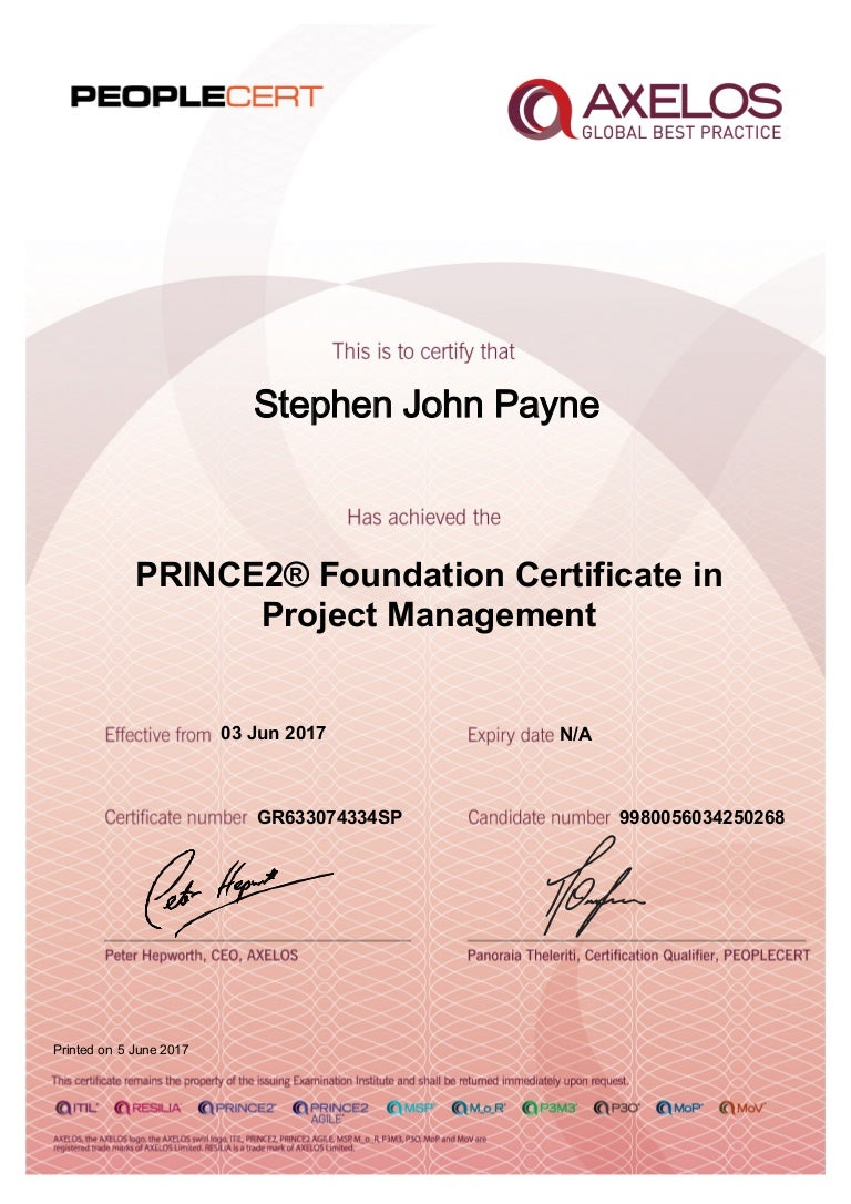 prince2 certificate practitioner foundation certification management slideshare cert printed upcoming
