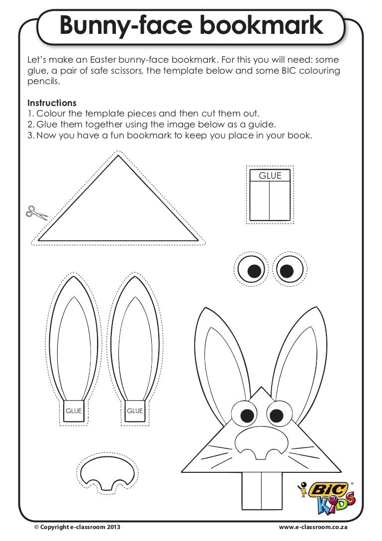 E Class Occasions Easter Craft 1 Bunny Face Bookmark
