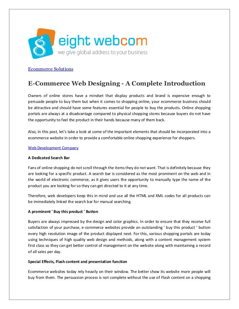 E Commerce Web Designing A Complete Introduction