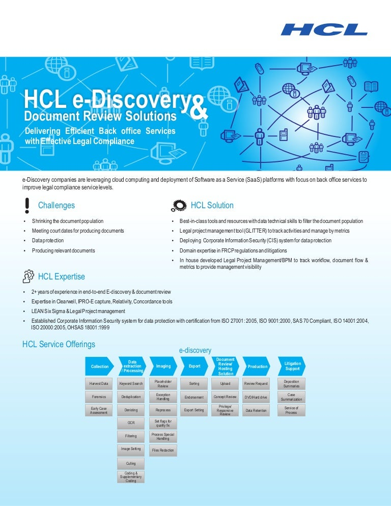 Hclt Brochure E Discovery And Document Review Solutions