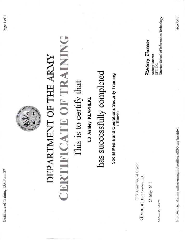 Army Training_Social Media and Operation Security Certificate