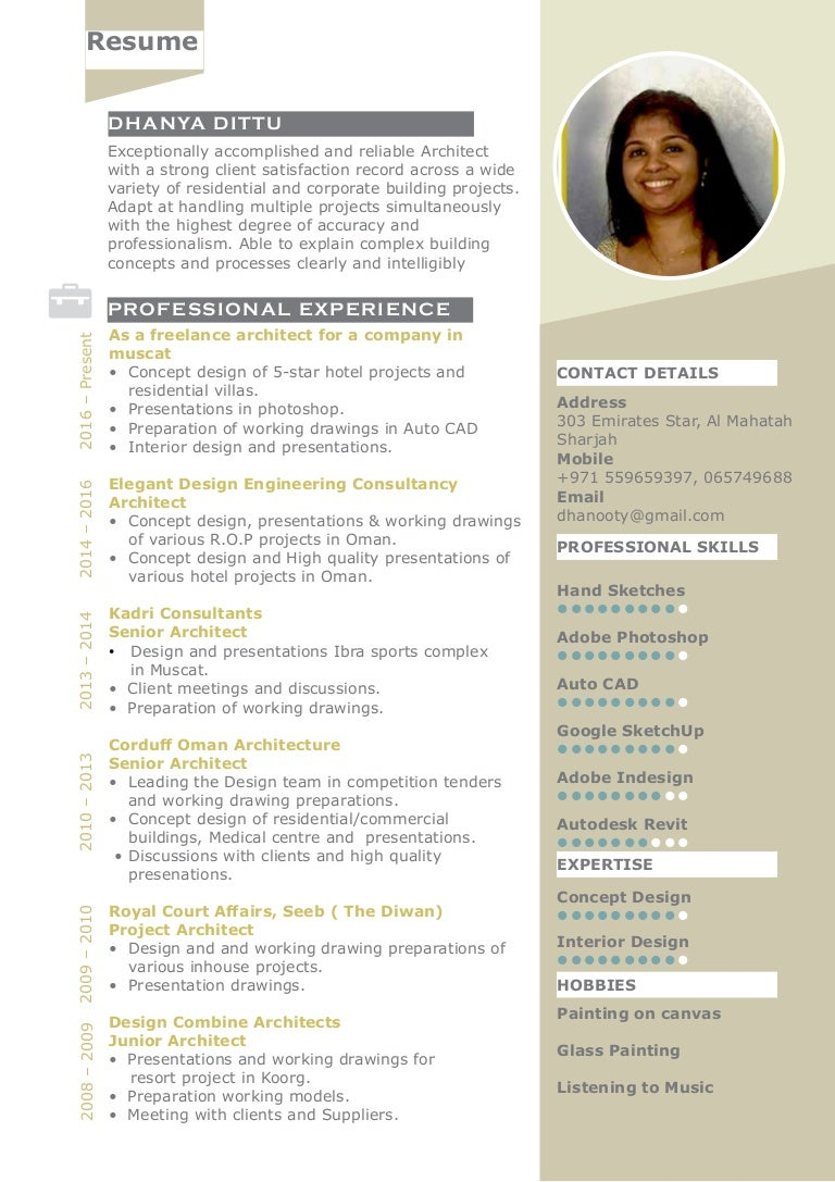 Architect Dhanya Resume