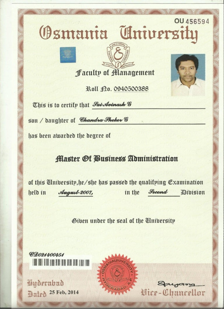 convocation certificate