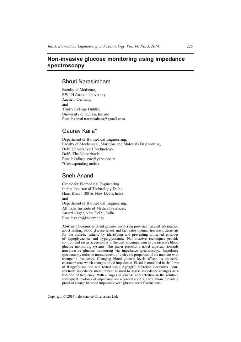 Ijbet 4 Narasimham Et Al Circuit Diagram Non Invasive Glucose Meter