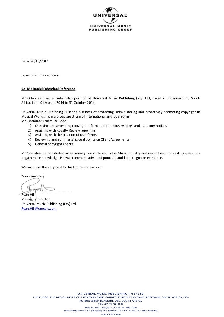 Cover Letter For Music Internship Image collections - Cover Letter ...