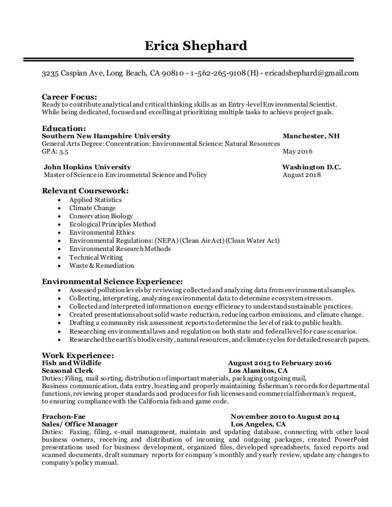 Sample Resume Entry Level Environmental Science - Augustais