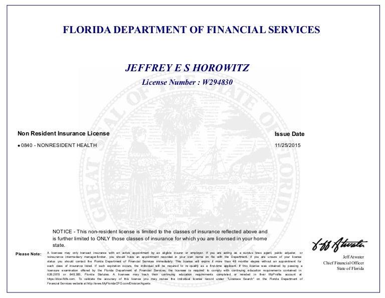 Health Insurance Florida >> Florida Health Insurance License Letter
