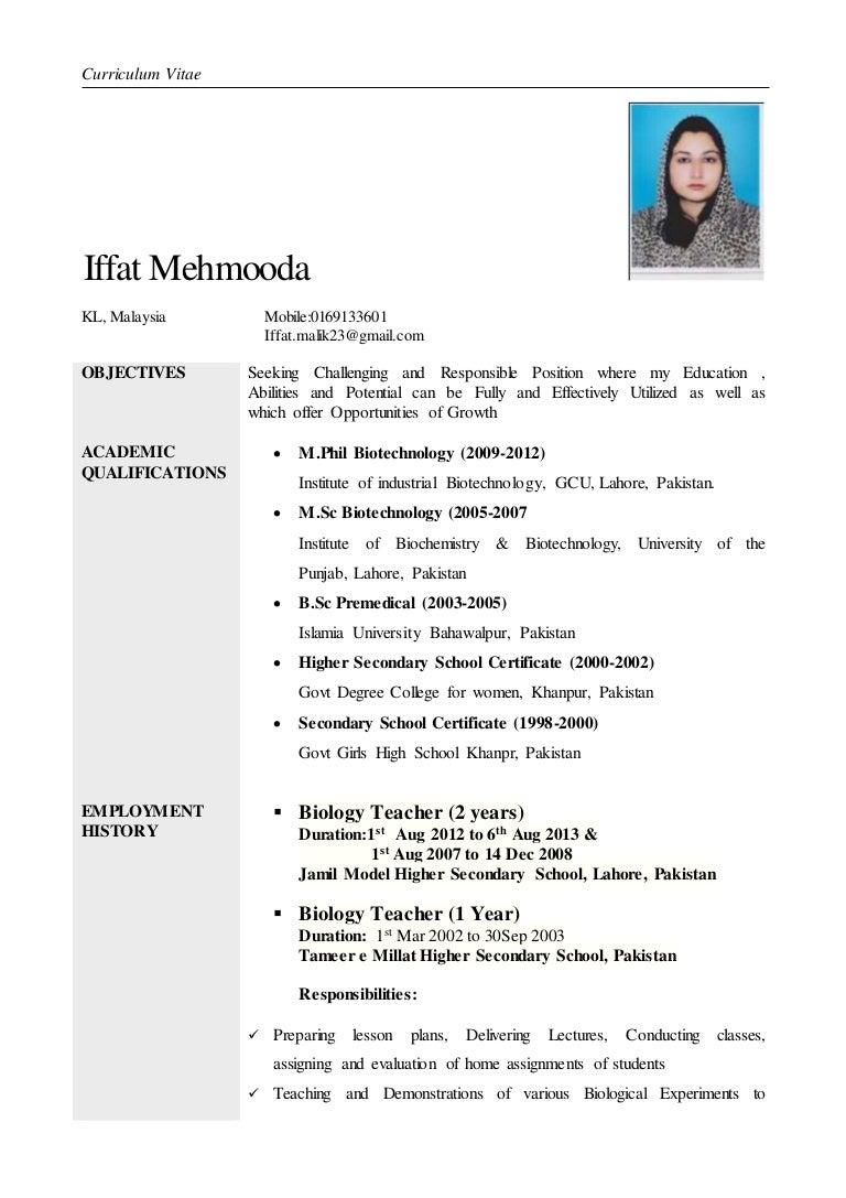 biology teacher resumes