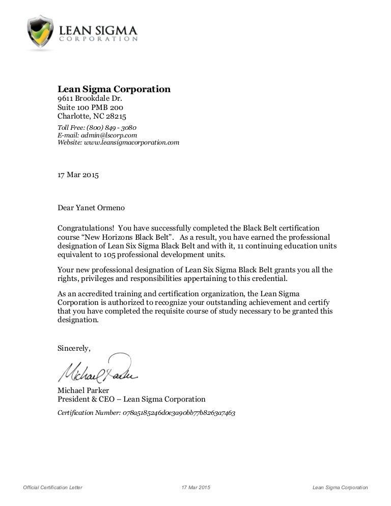 Course Certificate Letter Lean Six Sigma Black Belt