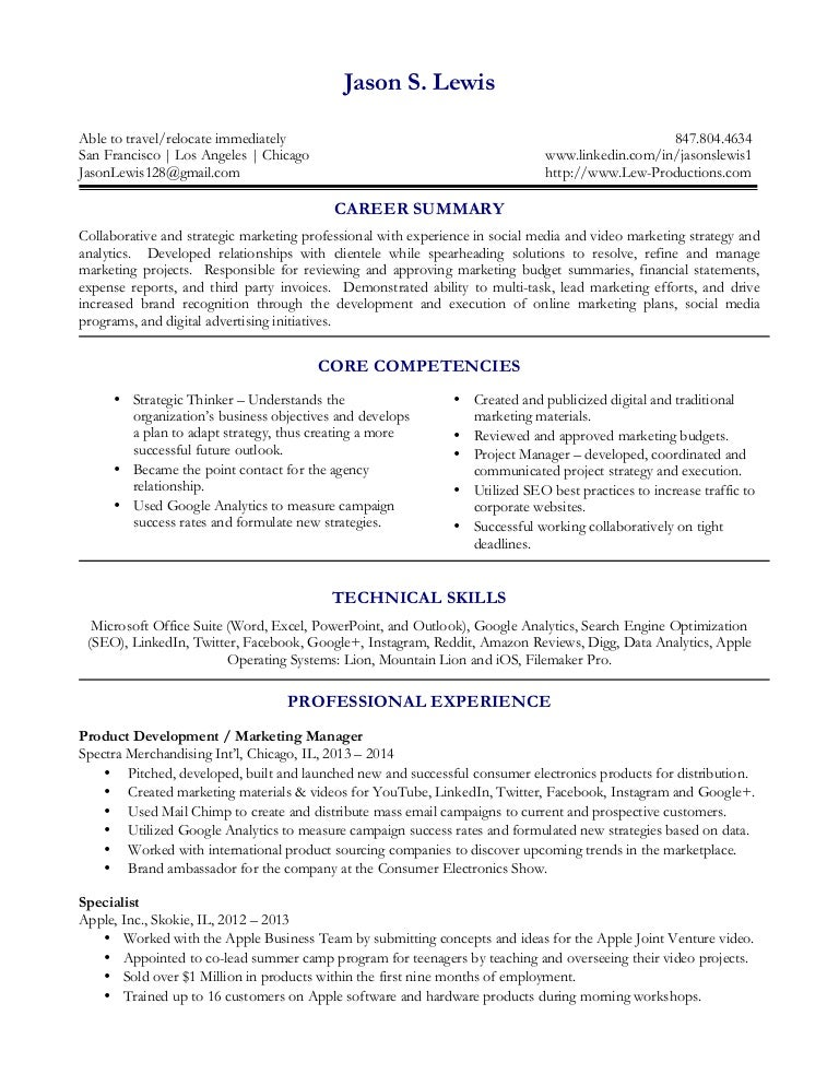 Jason S  Lewis Marketing Resume 11 14 2014