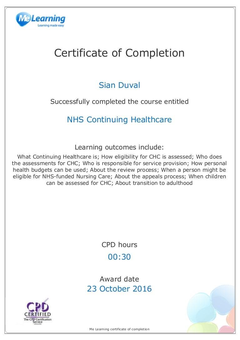 certificate chc