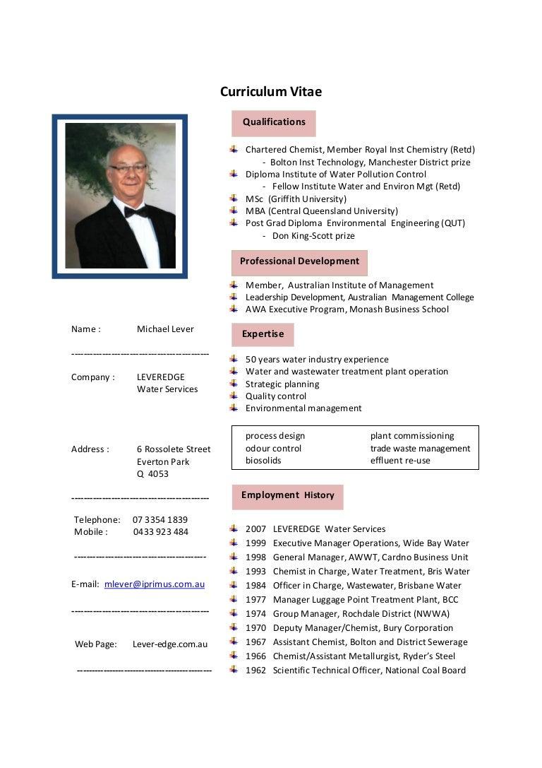 Curriculum Vitae - Michael Lever