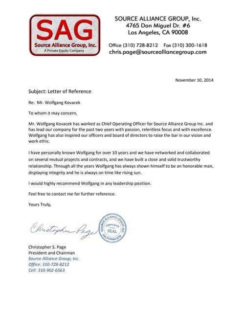 SAG Letter of Recommendation Nov 10th 2014