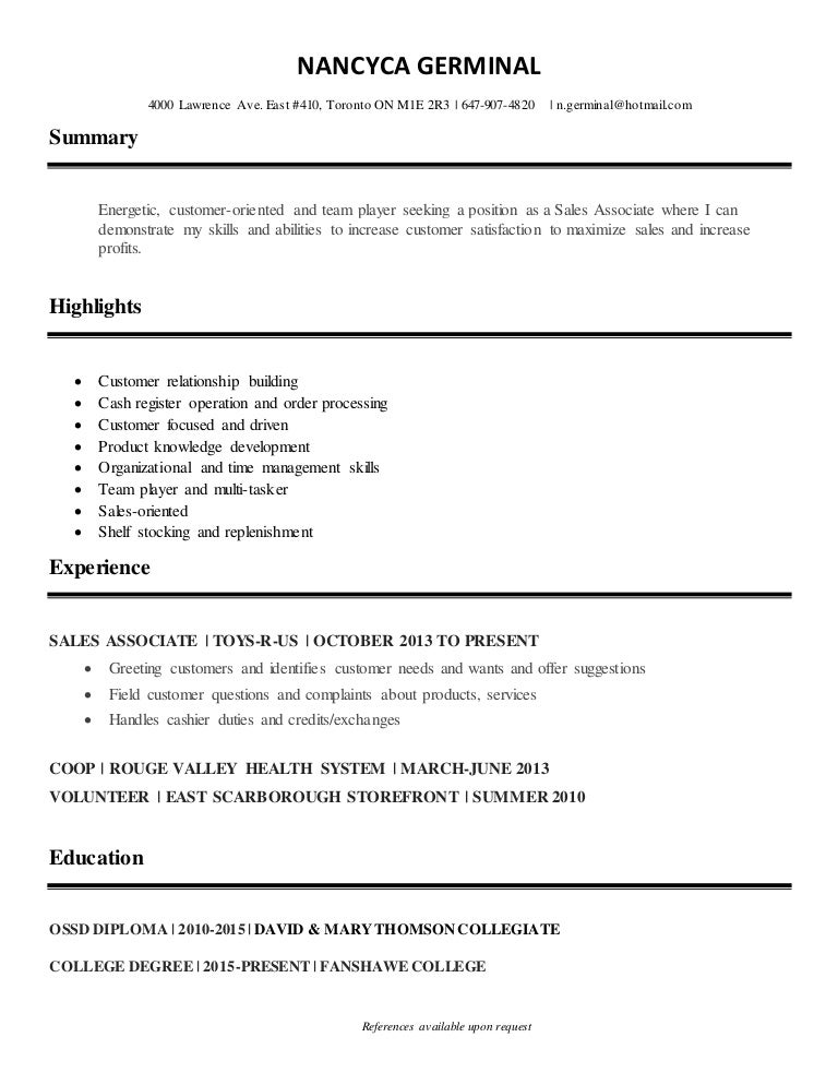 nancyca germinal sales associate resume