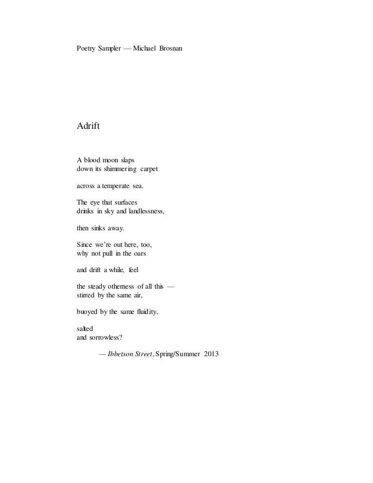Poetry Sampler Michael Brosnan