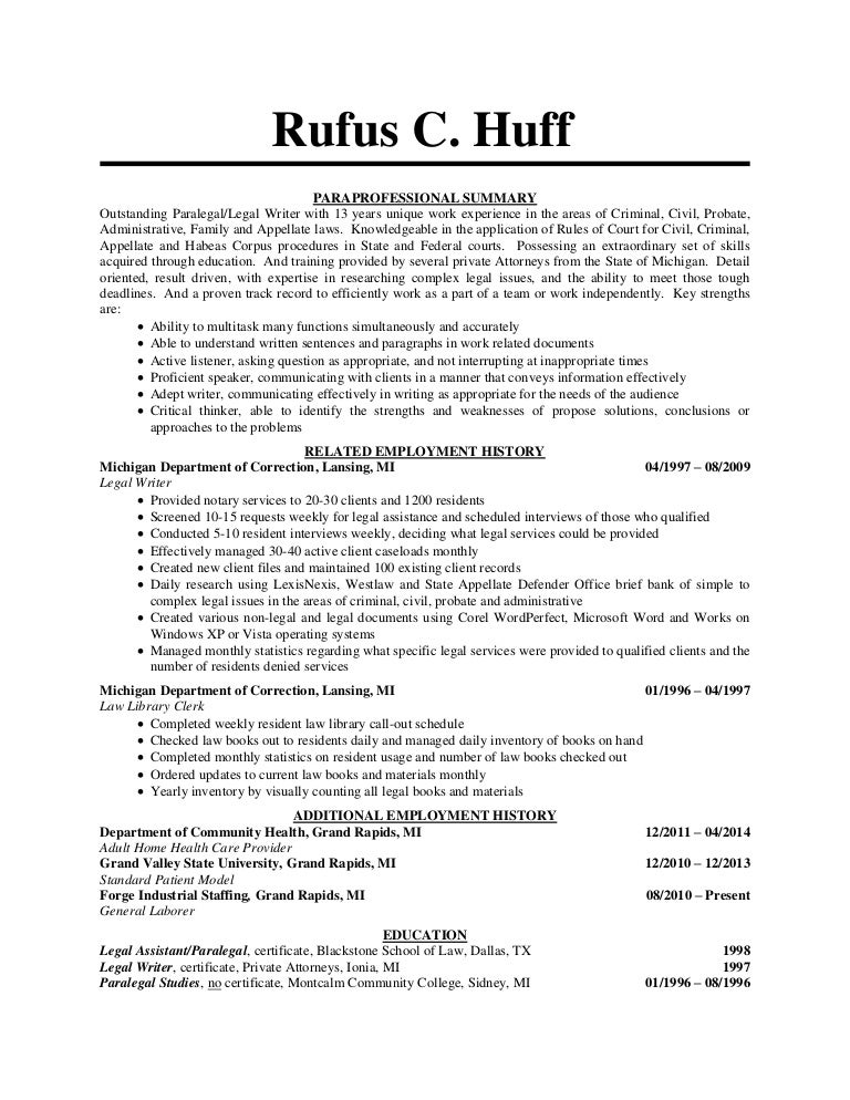 huff rufus paralegal resume - Paralegal Resumes
