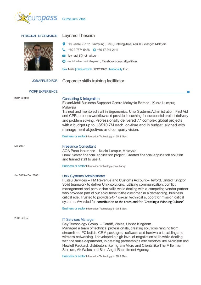 Europass Cv 2015 Facilitator