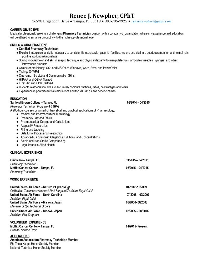 Pharmacy Technician Resume  Renee Newpher