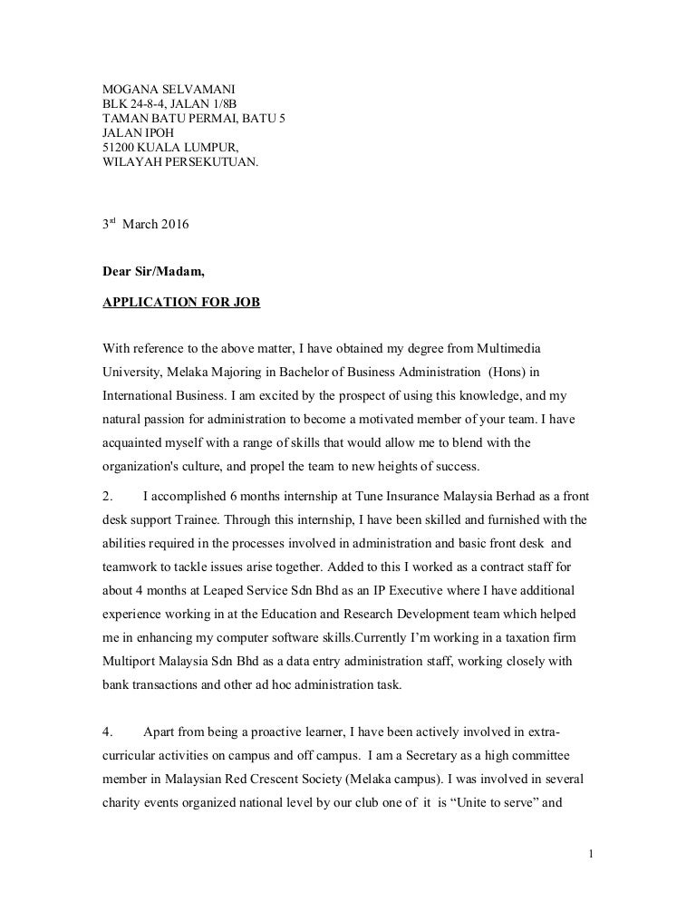 Cover Letter Sample For Job Application In Malaysia 100 Original