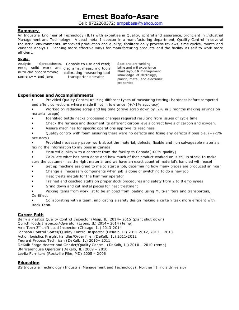 ernest professional industrial engineering of technology resume - Industrial Engineer Resume New Section