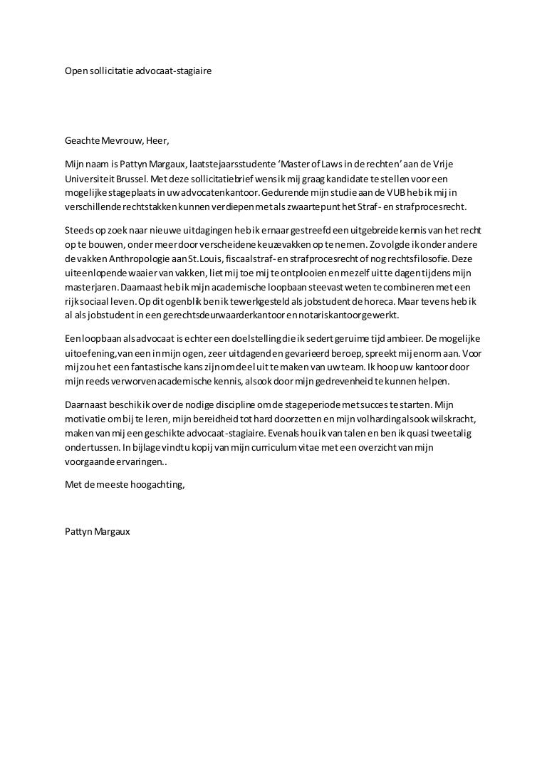 motivatiebrief stage advocatenkantoor Open sollicitatie Motivatiebrief