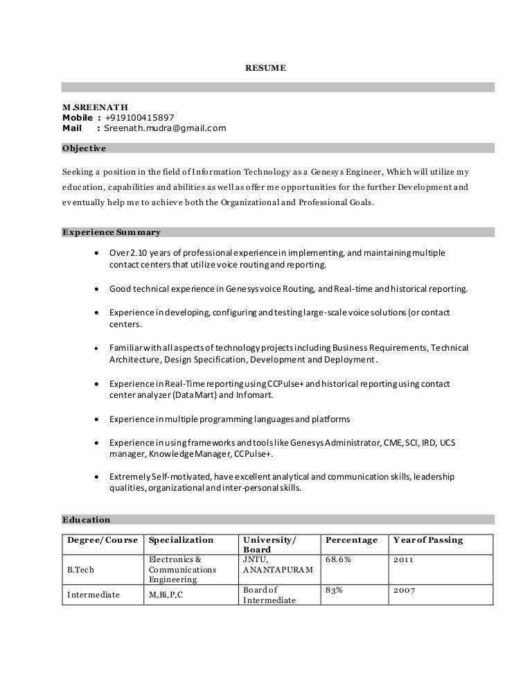 shrinath updated genesys resume