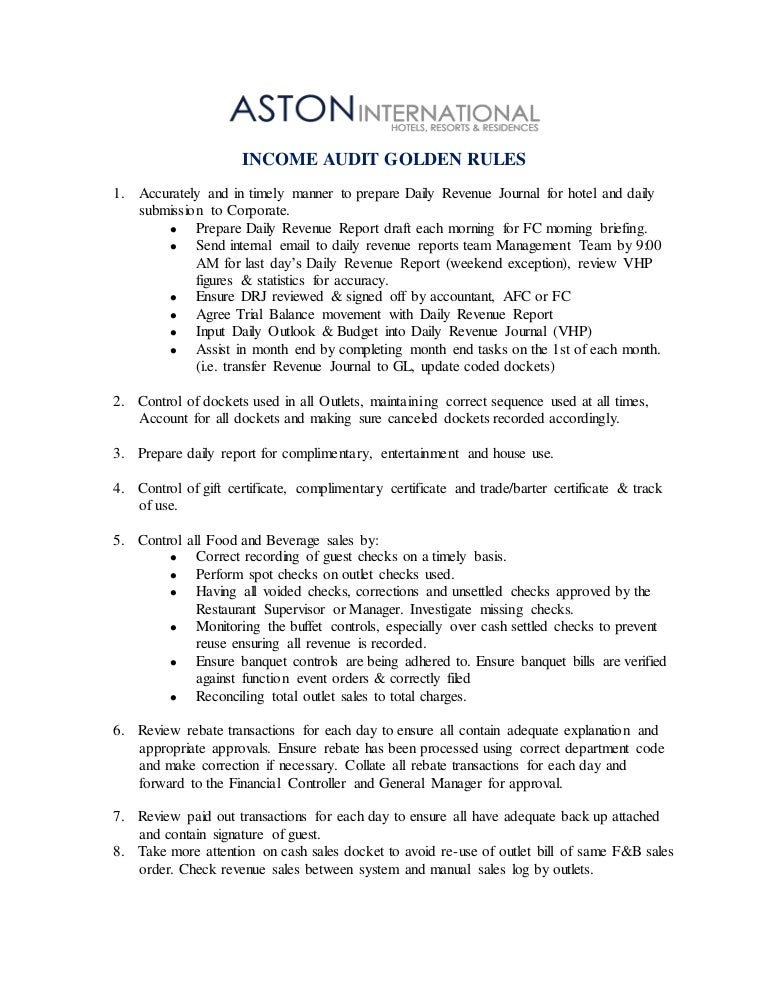 INCOME AUDIT GOLDEN RULES