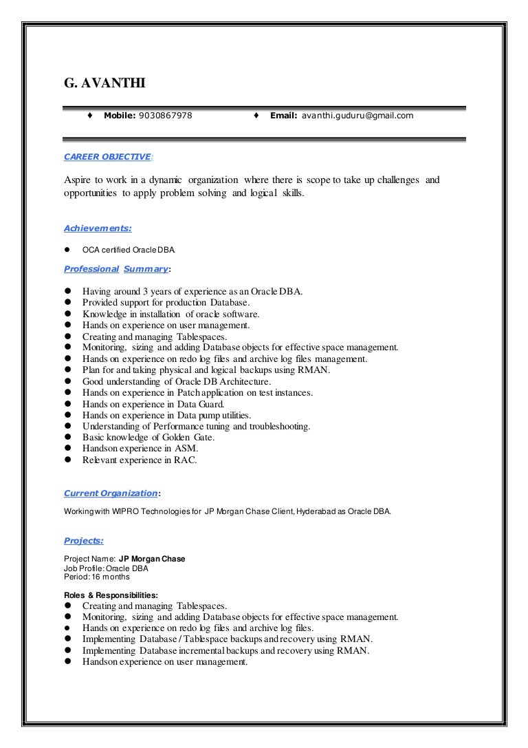 avanthi guduru oracle dba resume