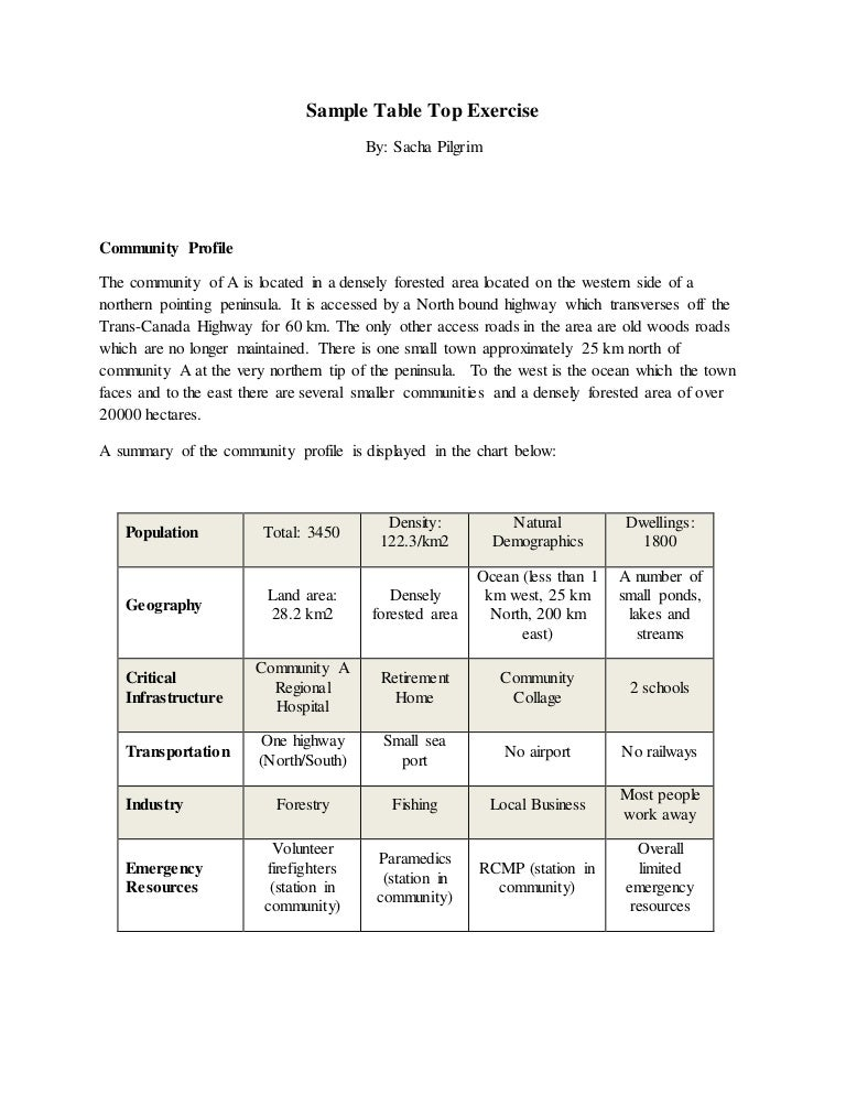 Sample Table Top Exercise