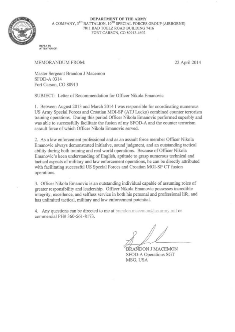 us army sf letter of recommendation