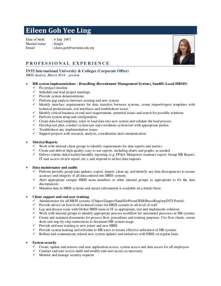 hris analyst bi analyst resume sample