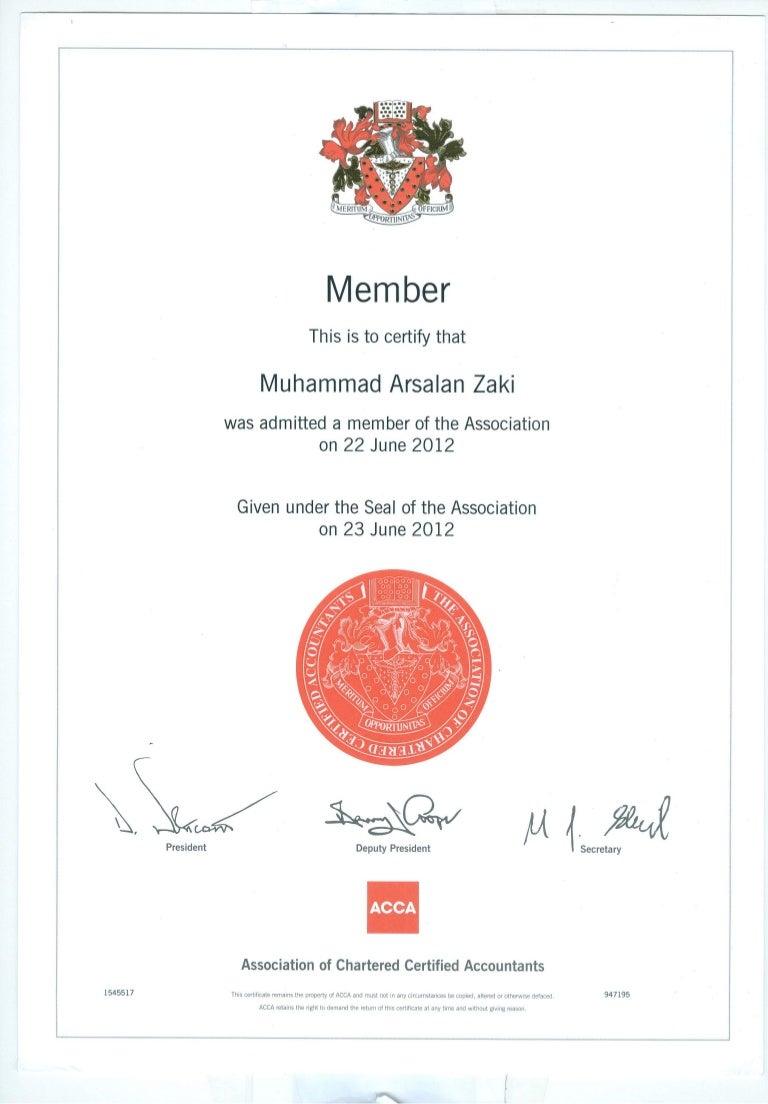 Acca membership certificate xflitez Images