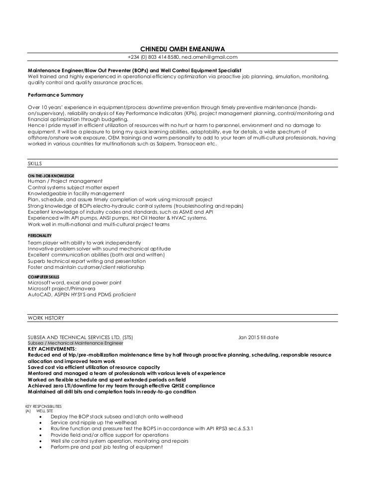 chinedu\'s CV - maintenance - BOP engr