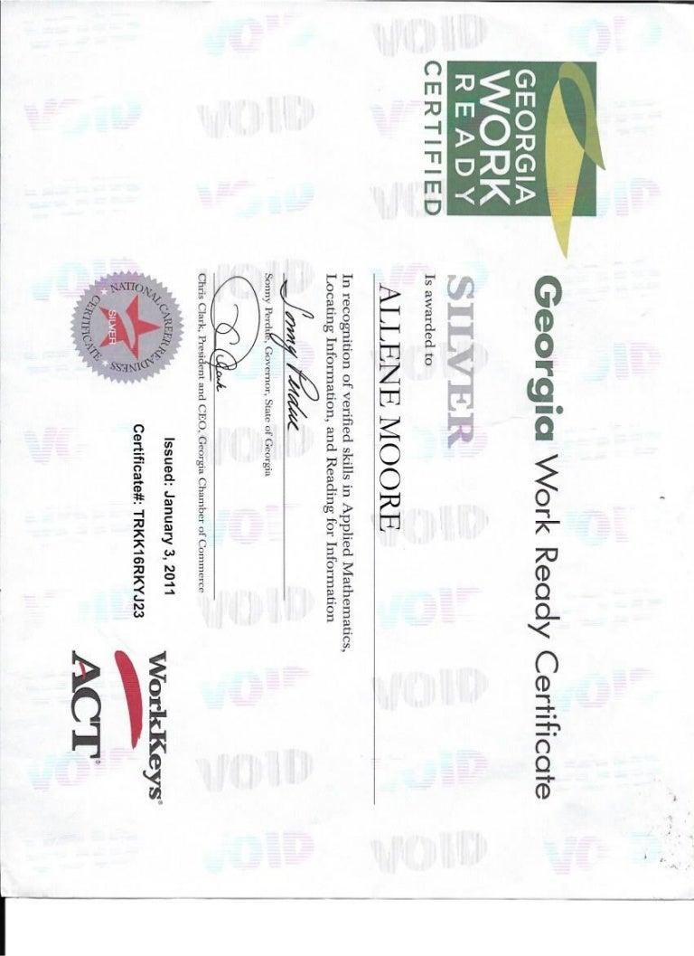 Georgia work ready certificate xflitez Choice Image