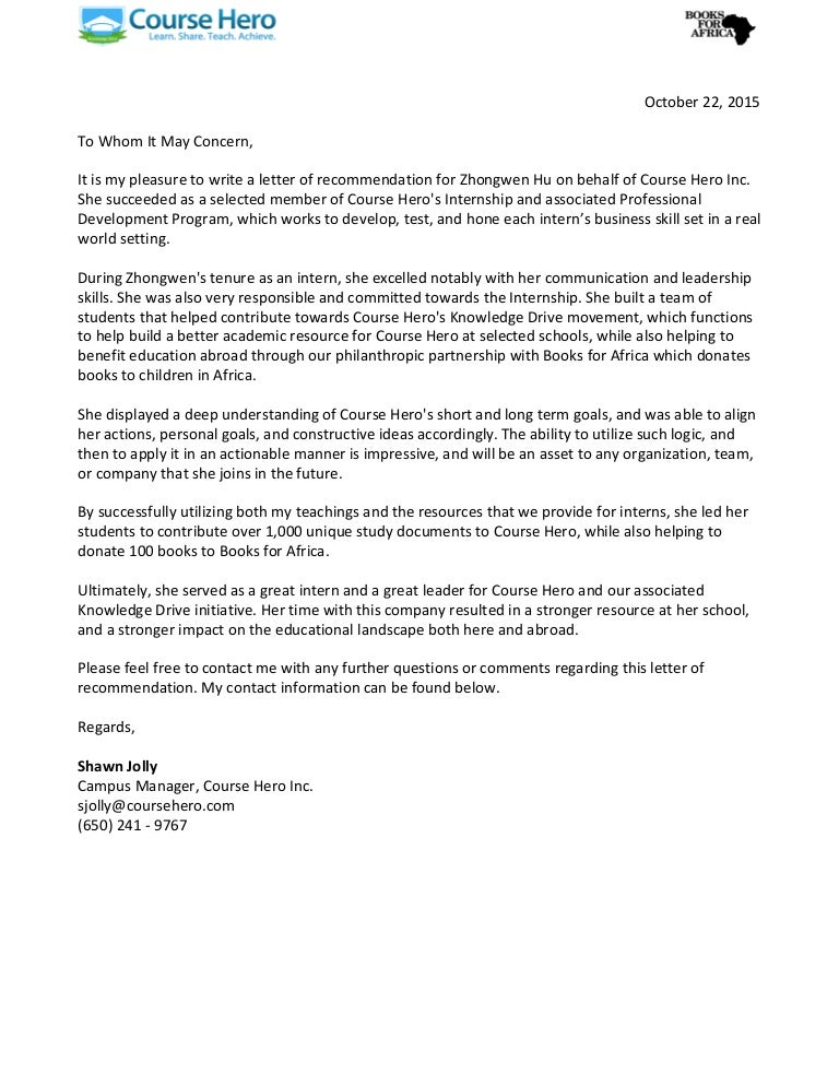 Course Hero Letter Of Recommendation