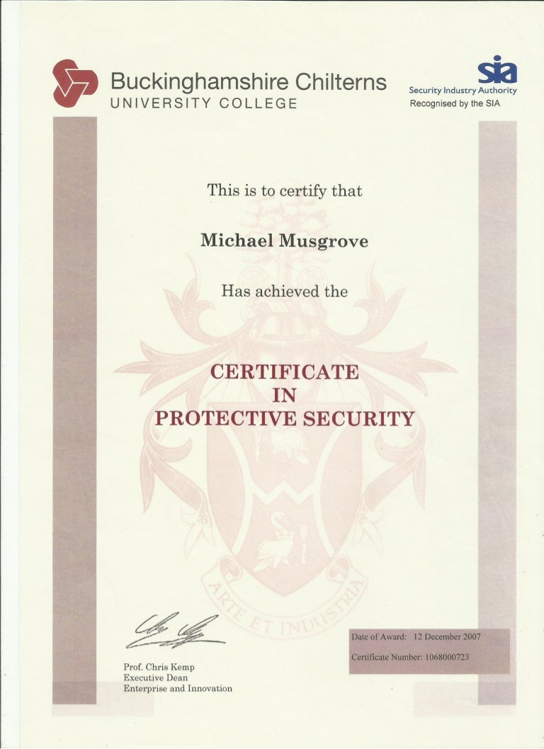 security certificate protective level