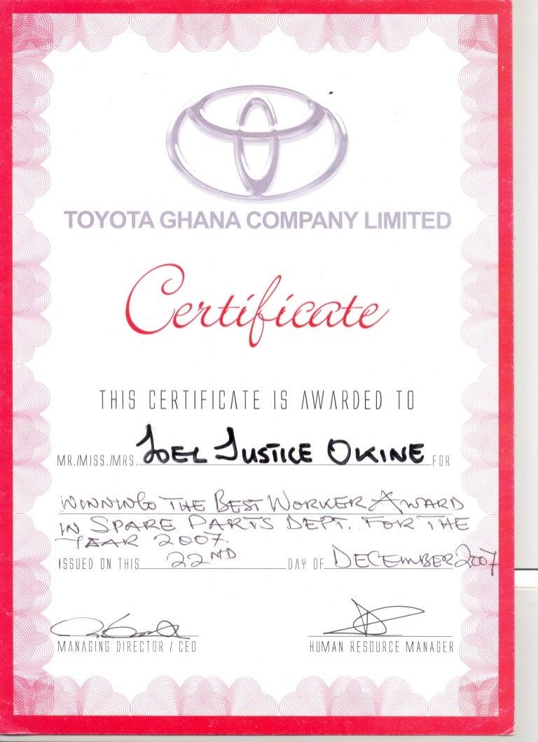 Certificate As A Best Worker (Toyota Ghana 2007)