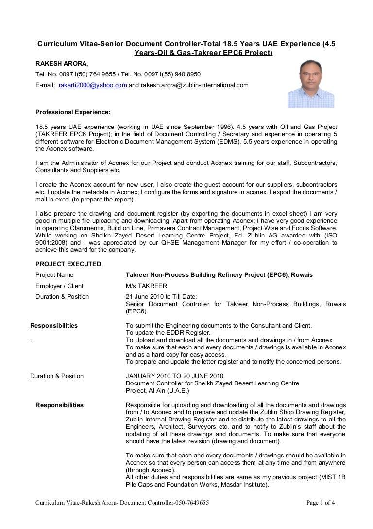 Curriculum Vitae-Senior Document Controller-Total 18.5 Years UAE Expe…
