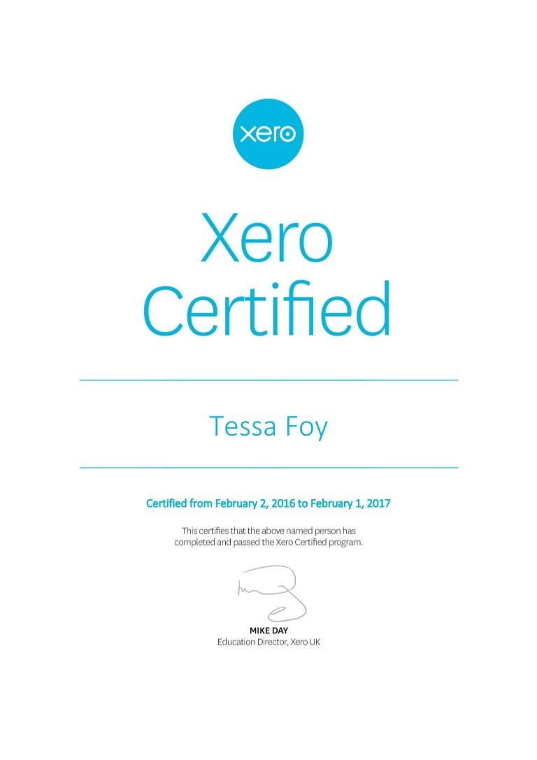 Xero certification certificate 1betcityfo Gallery
