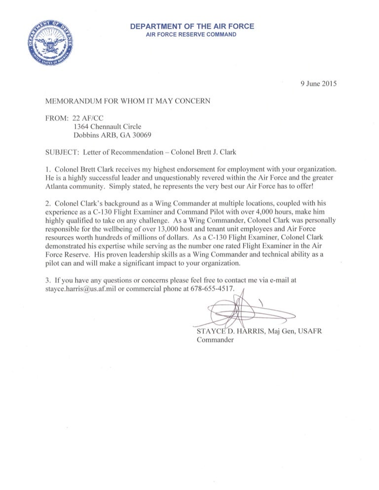 Letter Of Recommendation From General Harris For Colonel Clark - 9 Ju…