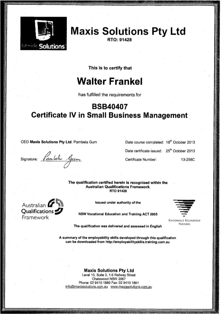 Bsb40407 certificate iv in small business management wl frankel xflitez Image collections