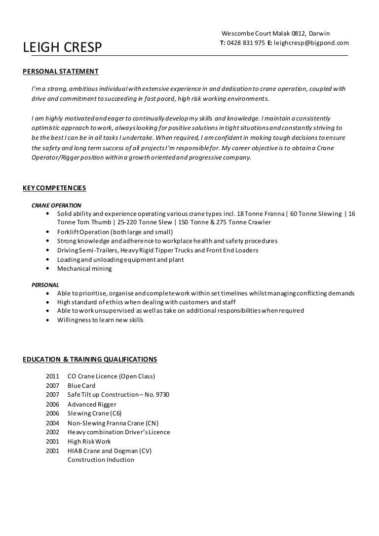 CRESP, Leigh-Resume