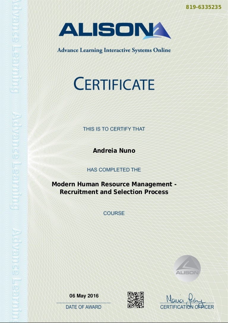 Modern hr management recruitment and selection process certificate xflitez Image collections