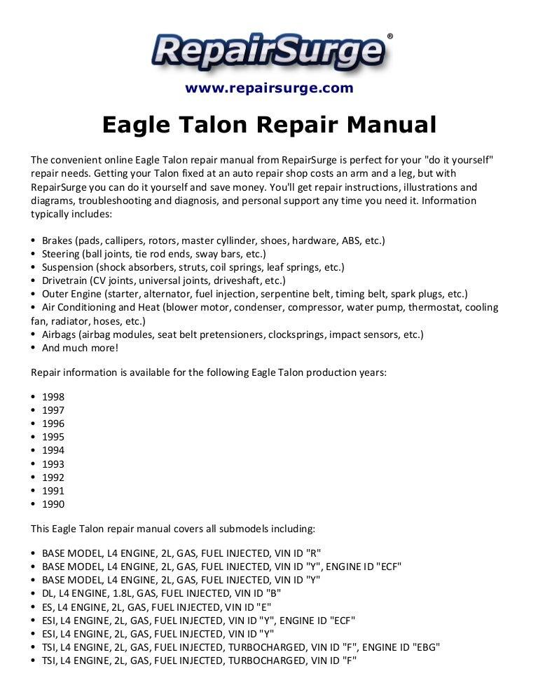 Eagle Talon Repair Manual 1990 1998