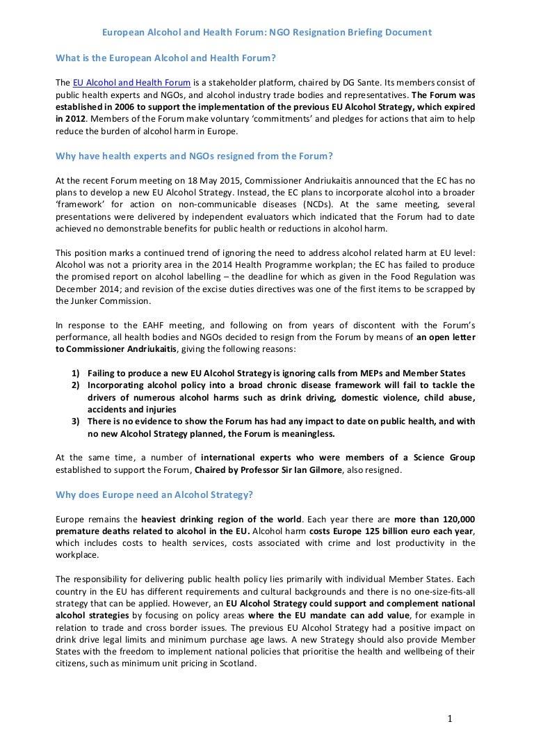 european alcohol and health forum  ngo resignation
