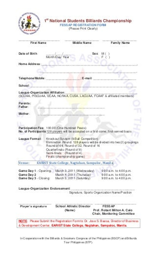 FESSAP Billiard Registration Form