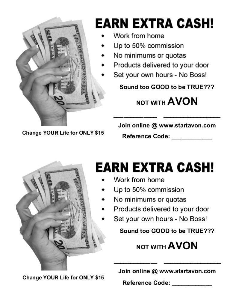 Earn Extra Cash With Avon Flyer