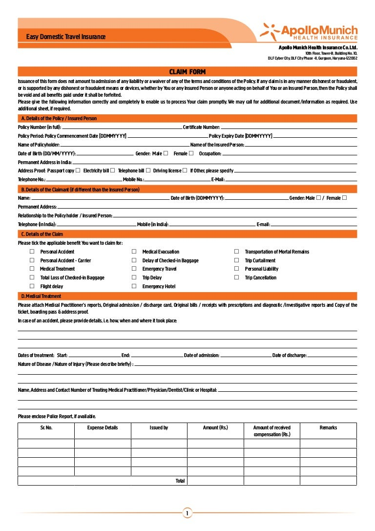 apollo munich easy domestic travel insurance claim form personal acc