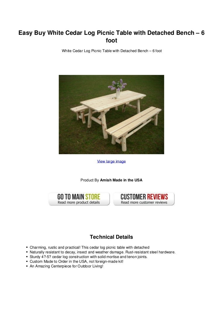 Swell Easy Buy White Cedar Log Picnic Table With Detached Bench Beatyapartments Chair Design Images Beatyapartmentscom