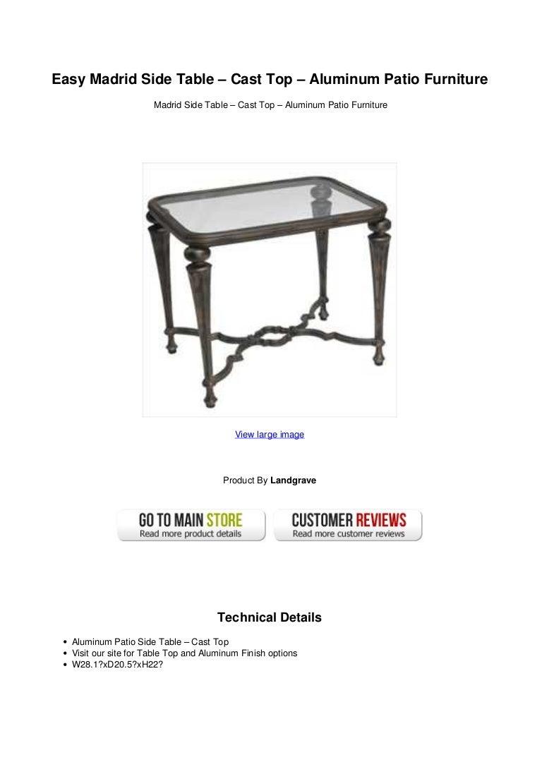 Easy Madrid Side Table Cast Top Aluminum Patio Furniture